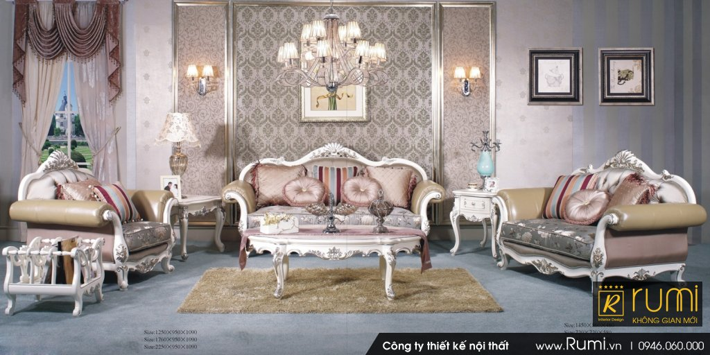 Mẫu phòng khách tân cổ điển RUMIX43