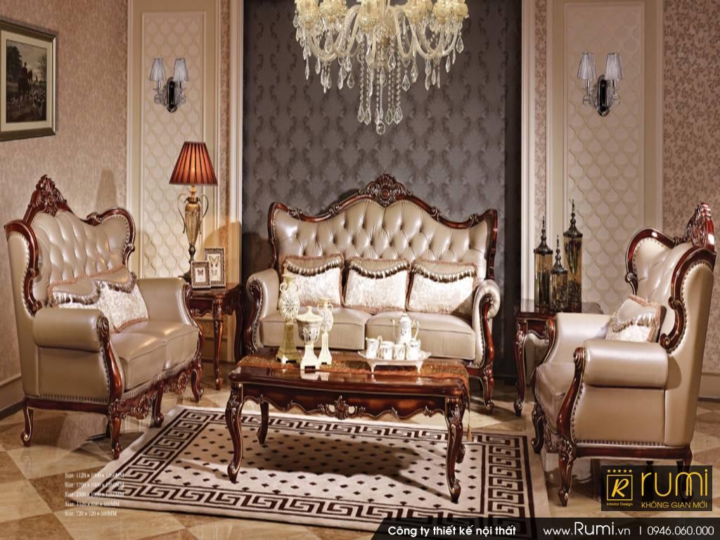 Mẫu nội thất phòng khách tân cổ điển Châu Âu