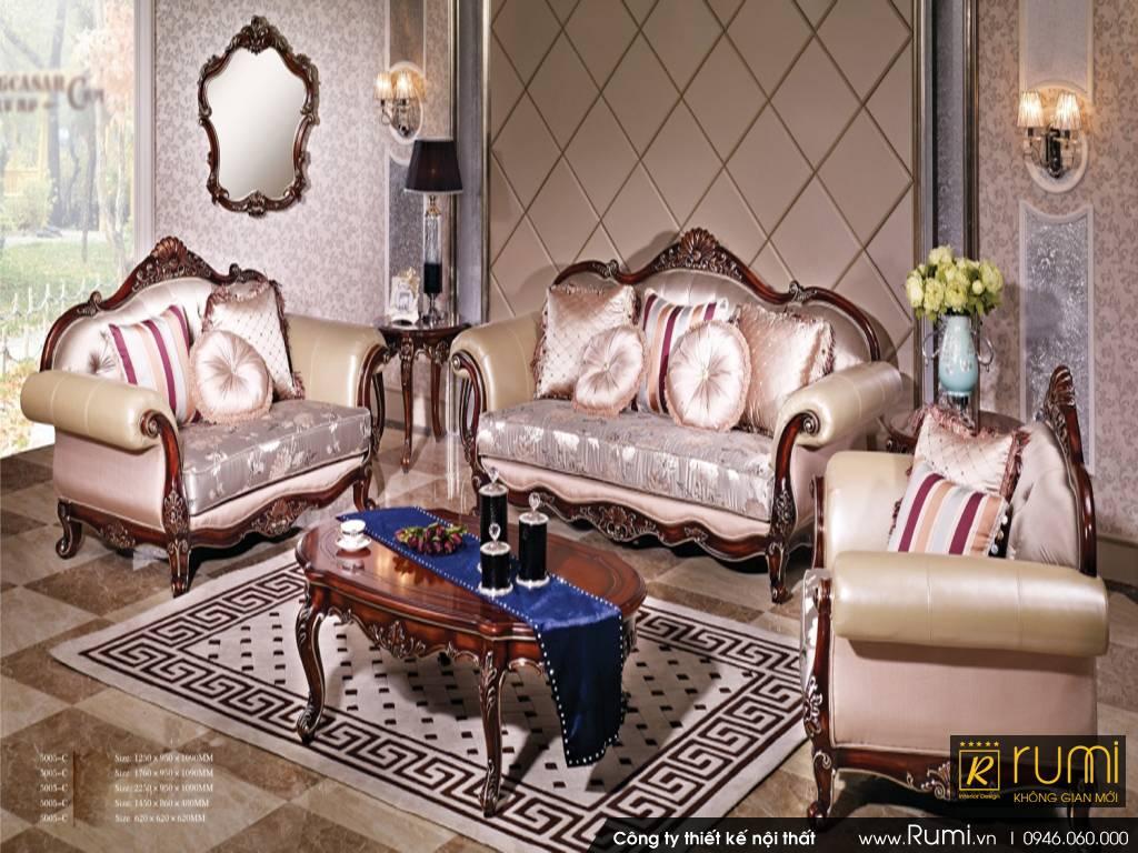 Mẫu nội thất phòng khách tân cổ điển Châu Á đẹp