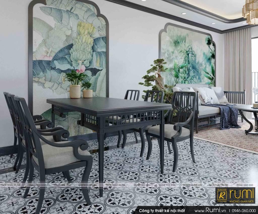 Thiết kế nội thất phong cách Đông Dương căn hộ chung cư Beasky